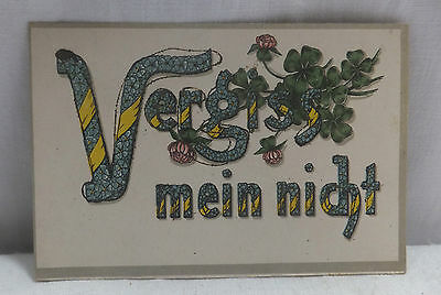 """AK Spruchkarte mit Glitter  """" Vergiss mein nicht  """"  gel. 1918"""
