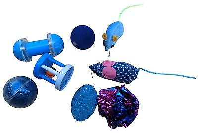 Cat Toy fur Mouse Mouse Bell Rattle Catnip 8 Pieces Assorted