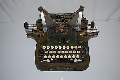 Antique Oliver No 9 Batwing Type Writer Standard Visible Green 1900's