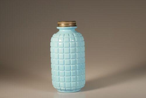 Victorian Glass Light Blue Milk Glass Waffle Pattern Dresser Bottle c.1890