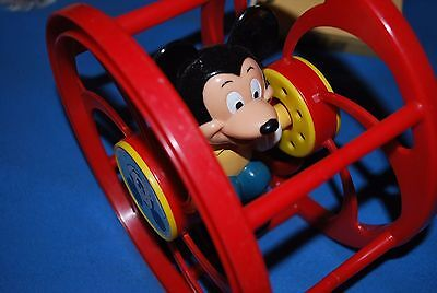 Vintage Mickey Mouse Rolling Toddler Toy Walt Disney Corp Plastic Wheel 1745