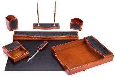 Majestic Goods 7 Pcs Brown Oak W Black Eco-friendly Leather Pu Desk Setw401