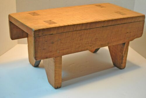 Antique Figured Tiger Maple Wood Step Stool, Folk Art Wood Milking Stool