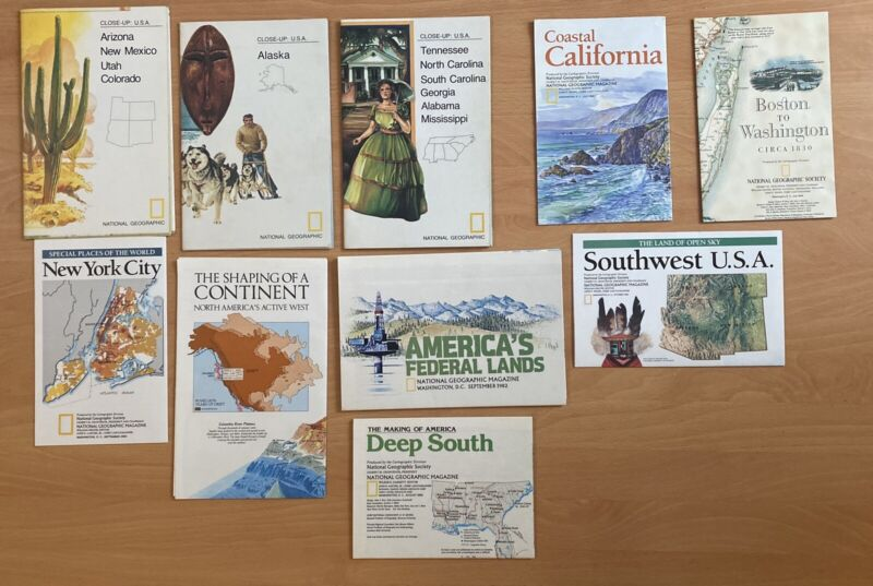 Lot of  108 NATIONAL GEOGRAPHIC MAGAZINE MAPS & INSERTS from 1960 - 2010 Mint