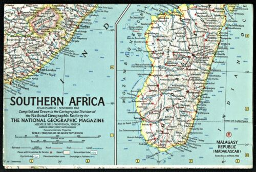 ⫸ Vintage 1962-11 November SOUTHERN AFRICA – National Geographic Map Poster