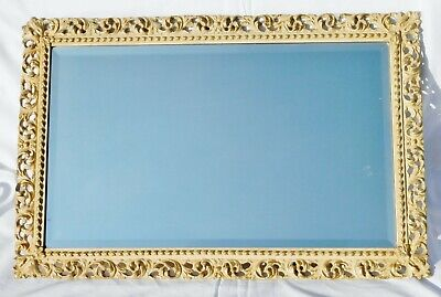 Vintage Rectangular Beveled Plate Mirror in Pierce Plaster Frame 26.5