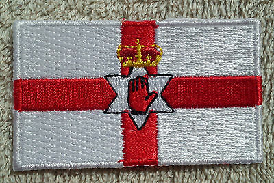 NORTHERN IRELAND FLAG PATCH Embroidered Badge Iron/Sew on 4.5cm x 6cm Ulster NEW