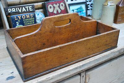 Antique maids oak box cutlery stationary tray tidy