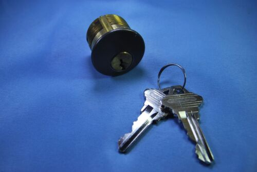 "Ilco 7165SC2-46 Mortise Cylinder 1"" long SC1 keyway Duronodic Finish"