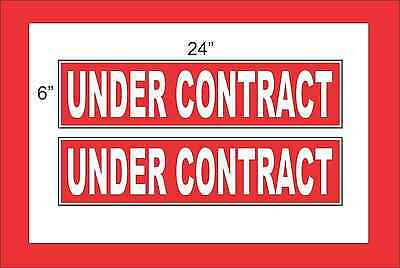 White On Red Under Contract 6x24 Real Estate Rider Signs Buy 1 Get 1 Free