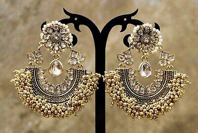 Indian Pakistani Ethnic Bollywood Gold Plated Pearl Moti Jhumki Chanbali Earring