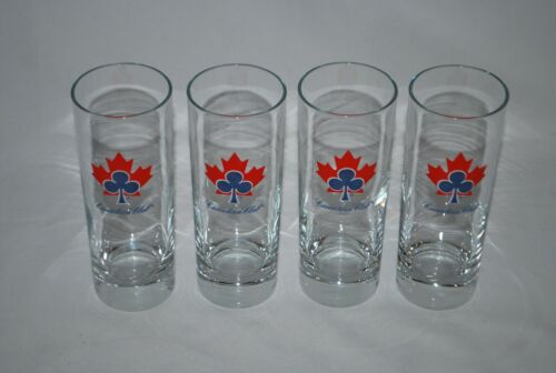 Set of 4 Canadian Club Tall Whiskey Glasses Red Leaves & Blue Club