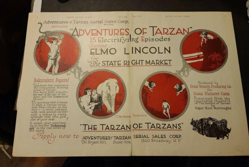 TARZAN ELMO LINCOLN 2 1921 TRADE ADS EDGAR RICE BURROUGHS