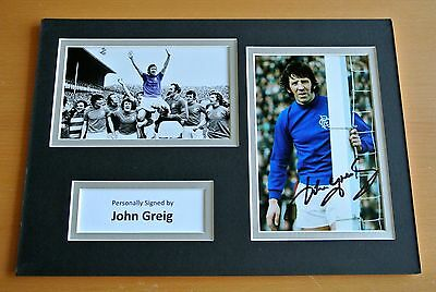 John Greig SIGNED A4 Photo Mount Autograph Display Rangers Football PROOF & COA
