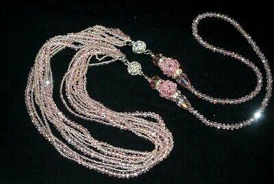Fancy 3 way Pink Crystal Necklace- Zen Cove Liquidation- Was $65 - -