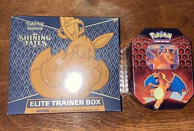 Pokemon Charizard GX Hidden Fates Tin + Shining Fates Elite Trainer Box ETB