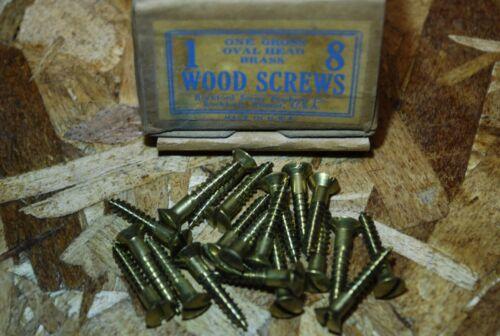 "#8 x 1"" Oval Head Brass Wood Screws - Rockford - NOS 20pcs #ps313"