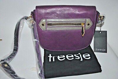 TREESJE Purple Leather Crossbody Shoulder Purse w/ dust cover NWT
