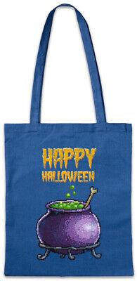 Pixel Happy Halloween Stofftasche Einkaufstasche Gamer Nerd Fun Witch Pot Kettle