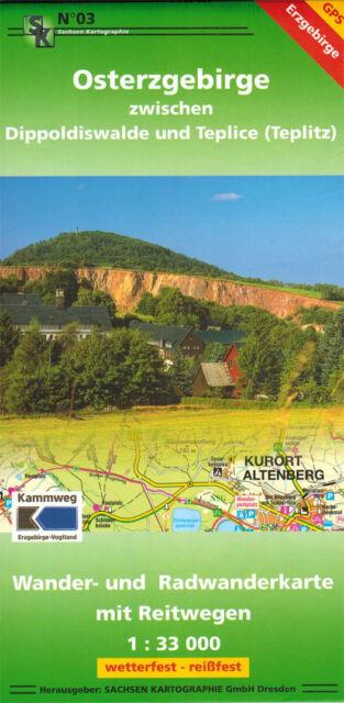 Wanderkarte Osterzgebirge zw. Dippoldiswalde, Altenberg, Geising u.Teplice - GPS