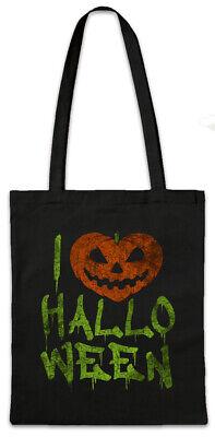 I Love Halloween Stofftasche Einkaufstasche Pumpkin Face Witch Kürbis (Kürbis Tasche)