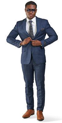 Slim Fit 2 Button Navy Blue Windowpane Plaid Mens Suit Peak Lapel 35071 AZARMAN (2 Button Mens Suit)