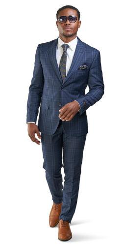 Slim Fit 2 Button Mens Suit Navy Blue Windowpane Plaid Peak Lapel 35071 AZARMAN
