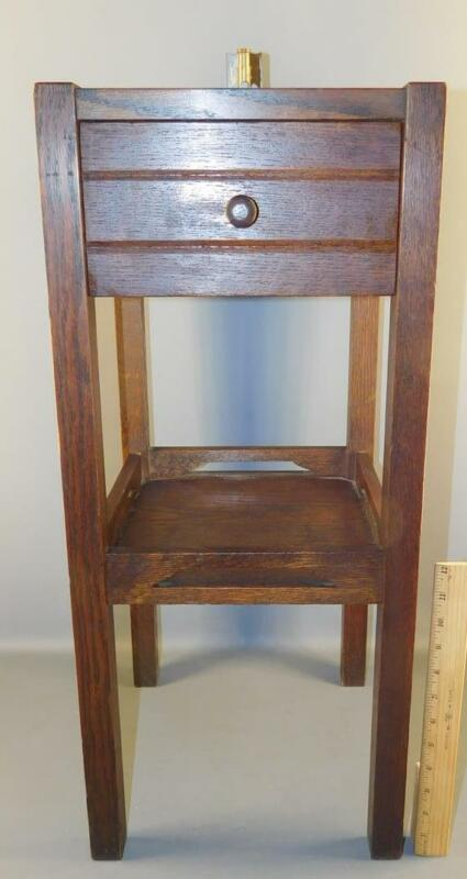 ANTIQUE MISSION OAK ONE DRAWER CABINET ARTS & CRAFTS SMOKING STAND ASHTRAY