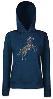 Colored Horse II Damen Hoodie Kapuzenpullover Toon Look Techno Rave Raver Dance