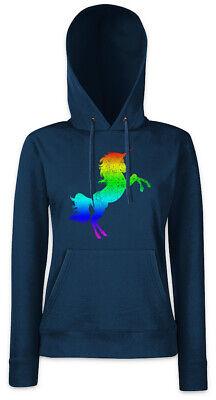 Rainbow Unicorn Damen Hoodie Kapuzenpullover Cartoon Look Fun Techno Rave Raver