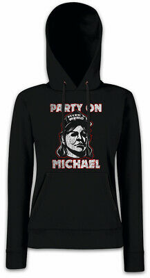 PARTY ON MICHAEL Damen Hoodie Kapuzenpullover Halloween Myers Wayne's Fun World (Michael Myers Kapuzenpullover)
