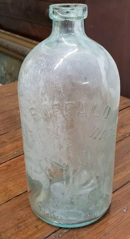 Vintage Old Buffalo Lithia Springs Water Aqua Glass Bottle