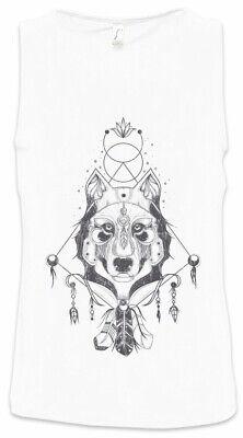 Indian Wolf & Feathers Herren Tank Top Native Tomahawk Indianer Federn Häuptling ()