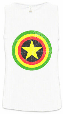 Captain Rasta Men Tank Top Fun Comic Bob America Shield Music Reggae Irie Ska