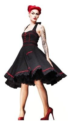 New Retro Pinup Hell Bunny Black & White Red Polka Dot Vanity Swing Dress