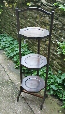 Antique Oak Folding Three Tier Cake Plant Stand Display  Shabby Chic Project