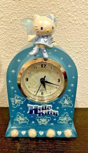 Sanrio Hello Kitty Aqua Butterfly Mantle Clock 2002-Very Nice!