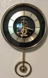 "Vintage 10"" SEIKO Skeleton Gears Quartz Wall Clock Brass W/ Pendulum QAX101G"