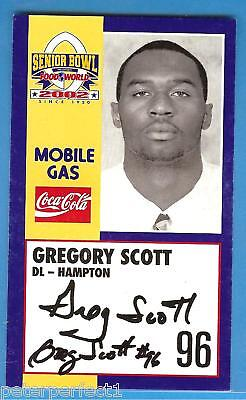 GREGORY SCOTT 2002 SENIOR BOWL AUTO HAMPTON PIRATES RC AUTOGRAPH ROOKIE SIGNED