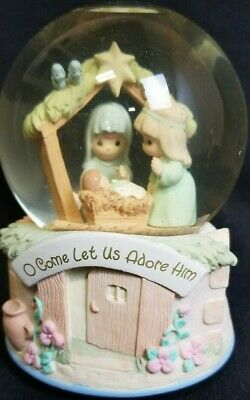 """Precious Moments by Enesco """"Let Us Adore Him"""" Musical Snow Globe"""