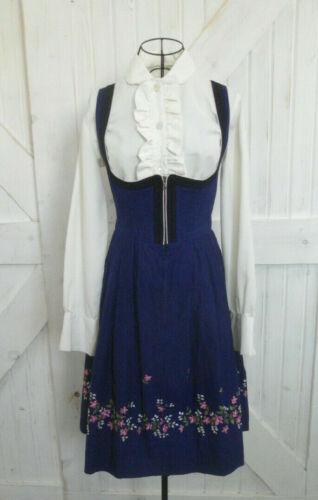 Vintage Tiroler Dirndl Blue Pink White Embroidered Floral Sundress Mini Dress