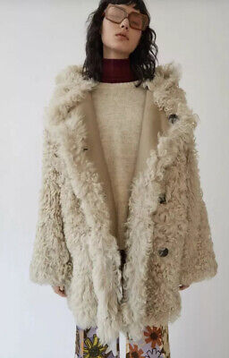 $3350  NWOT Acne Studios Womens Lune Ecru Oversized Shearling Coat 34