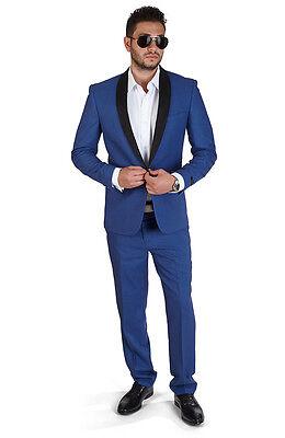 Slim Fit Men Suit Indigo Blue One Button Shawl Suede, Flat Front Pants By Azar](Mens Blue Suit)