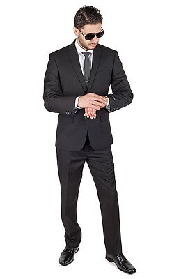 Slim Fit Men Suit Solid Black 2 Button Flat Front Pants Slim Style Suit By AZAR