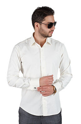 Off White Ivory Tailored Slim Fit French Cuff Dress Shirt Spread Collar By