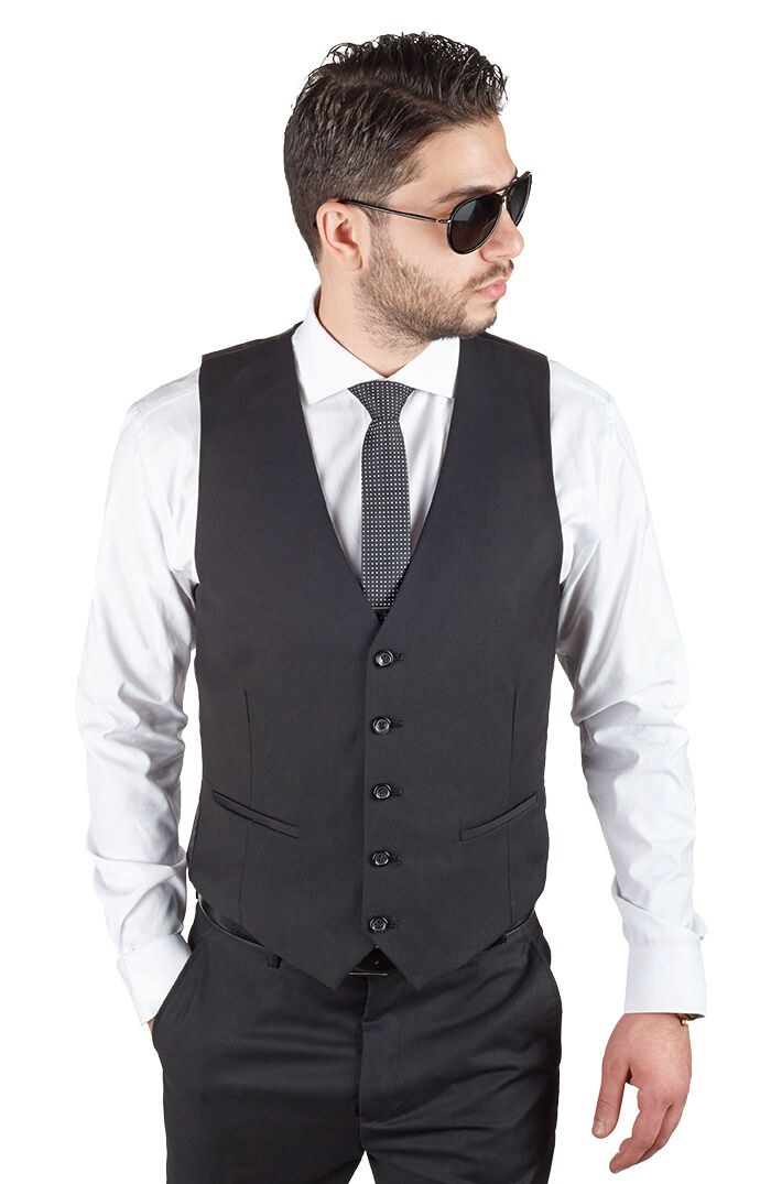 Men's Dress Suit Vest 5 Button V Neck Adjustable Back Strap
