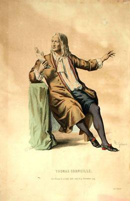 Thomas Corneillle Costume Teatro Jean Racine Incisione 19esimo