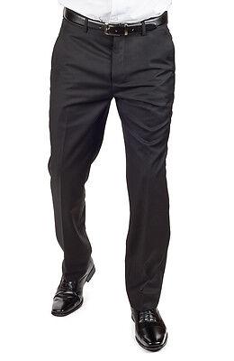 Tailored Slim Fit Solid Black Breathable Dress Pants Slacks Flat Front AZAR - Tailored Dress Pants