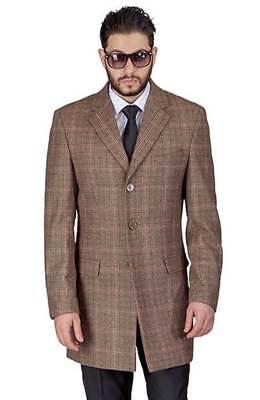 Plaid Tan/Brown Overcoat Slim Fit Men Wool Blend Single Breast Notch Lapel AZAR