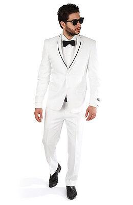 Slim Fit Men White Suit Black Trim Collar 2 Button Flat Front Pants Slim Style - White Tailored Suit
